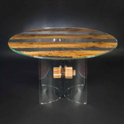Tavolo Rotondo Vetro Design.Round Table Venezia Made Of Venice Briccola Wood And Glass