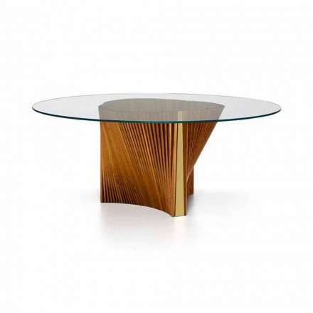 Luxury Round Table in Glass and Oiled Ash Made in Italy - Madame