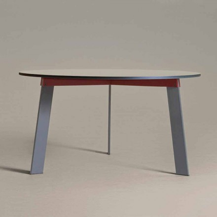 Modern Design Round Table in Steel and Colored Lacquered MDF - Aronte