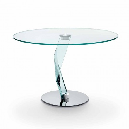 Round table of modern design in extra-clear glass made in Italy - Akka