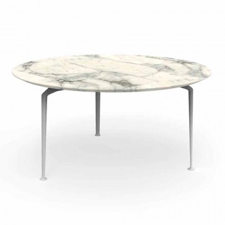 Round Outdoor Table of Modern Design Stoneware and Aluminum - Cruise Alu Talenti