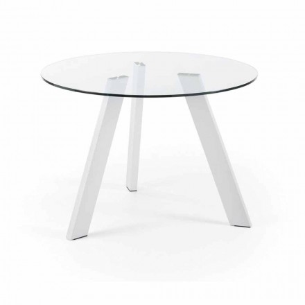 Round glass dining table Agata Ø110 cm, pure white legs
