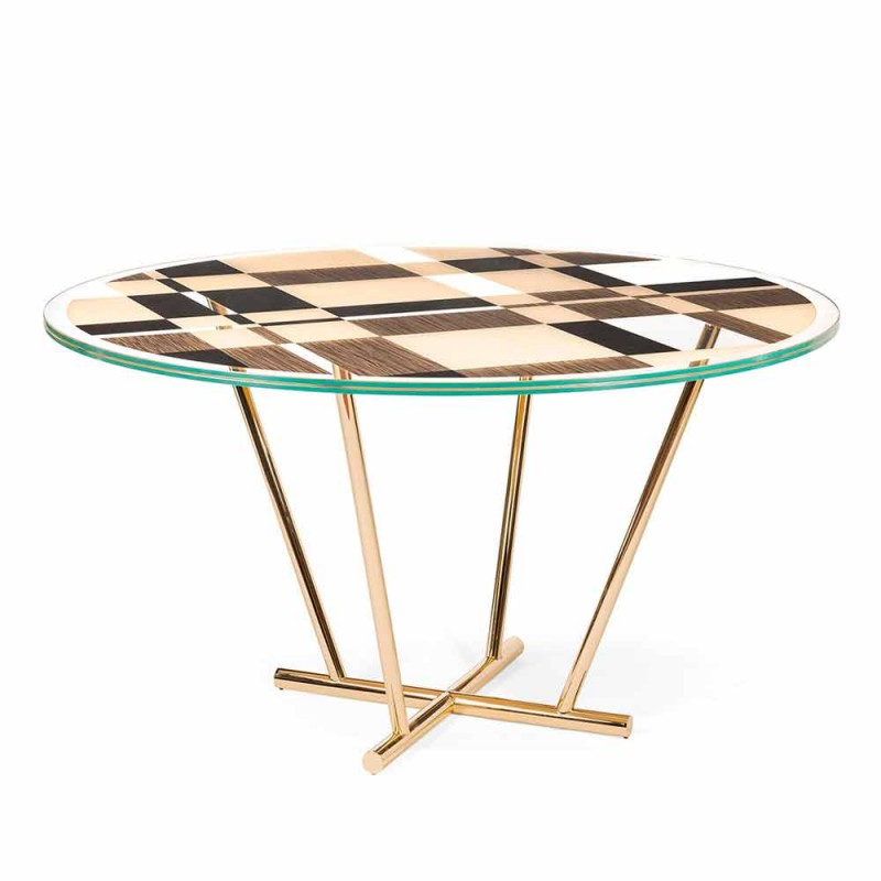 Modeno round table with glass top and Ozzy wood inlays