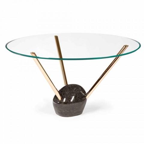 Tavolo Rotondo Vetro Design.Round Table Adele With Glass Top And Marble Base Modern Design