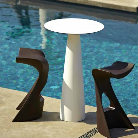 Round garden table in polyethylene and hpl Slide Hoplà (H110)