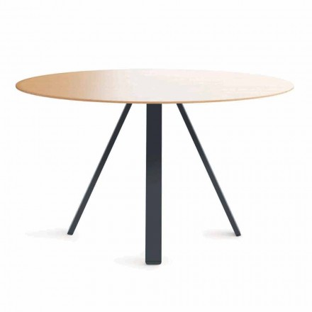Round Dining Table in Metal and MDF Made in Italy - Cornelius