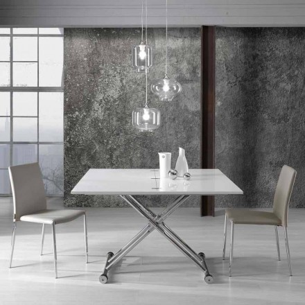 Extendable dining table with a modern design Alex, chromed metal frame