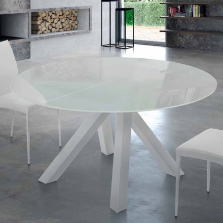 Extendable Round Table in Tempered Glass and Steel Made in Italy – Settimmio