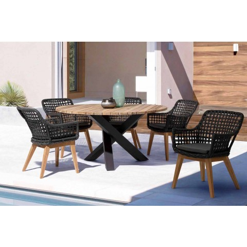 Round Outdoor Modern Table with Homemotion - Ruben Teak Wood Top