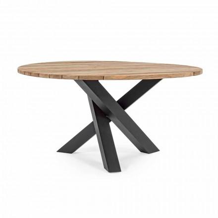 Round Outdoor Modern Table with Homemotion - Ruben Teak Wood Top