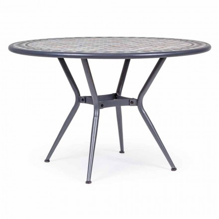 Round Garden Table with Ceramic Top Decorated with Mosaic - Letizia
