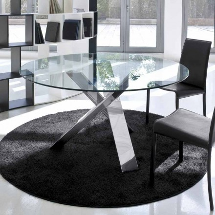 Design round table (d. 120) with crystal top made in Italy, Cristal