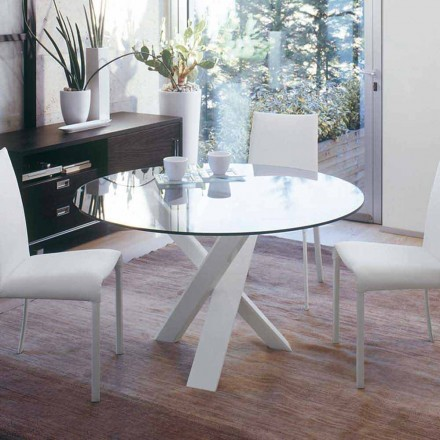 Design round table (d. 130) with crystal top made in Italy Cristal