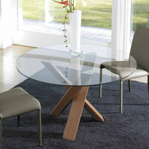 Tavolo Rotondo Vetro Design.Design Round Table D 150 With Crystal Top Made In Italy Cristal