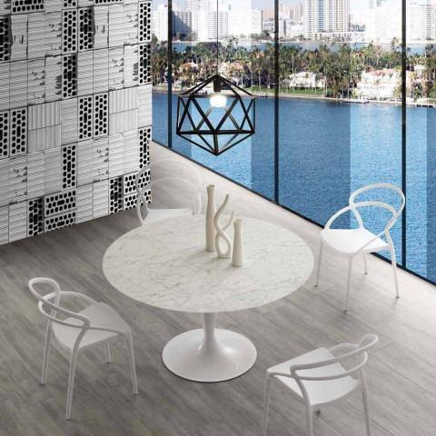 Round table diameter 120 cm with Rimini white Carrara marble top