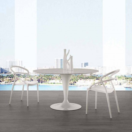 Round table with white Carrara marble top with 120 cm diameter Rimini