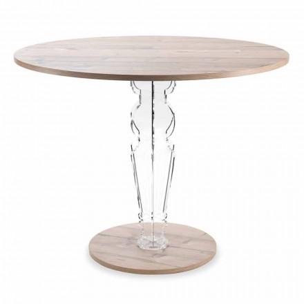 Round Wooden Table and Transparent Design Plexiglass Leg - Maritozzo