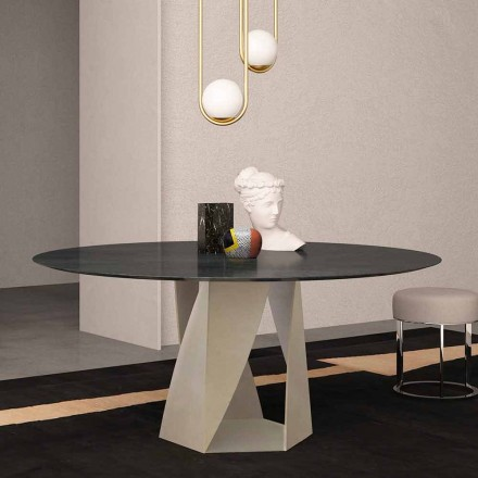 Round Table in Ocean Black Marble Diameter 130 cm, Made in Italy – Montedoro