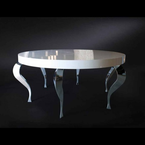Round table contemporary-style MDF and Luigi steel