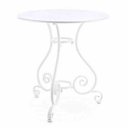 Shabby Chich Style Round Garden Table in Painted Steel - Charm