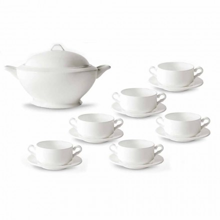 Soup Cups, Tureen and Saucer in White Porcelain 13 Pieces - Samantha
