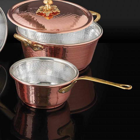 Conical Hand Tinned Copper Pan and Handle Made in Italy 19 cm - Mariassunta