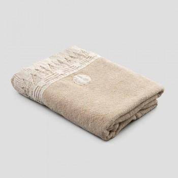 Cotton Terry Bath Towel with Italian Luxury Tassel Lace - Arafico