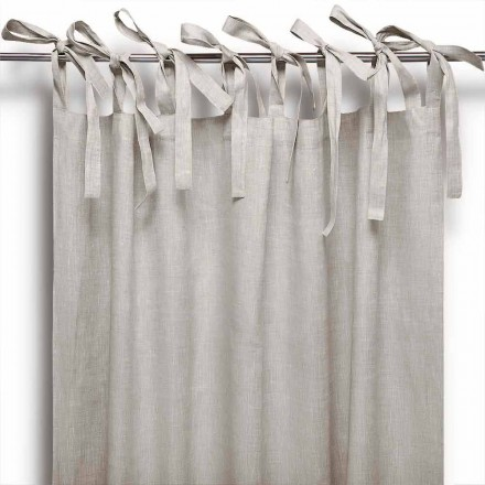 Curtain with Laces in Pure Linen in Natural Color Made in Italy - Daiana