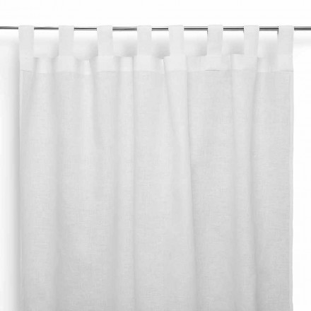 Rod Curtain in Pure Cream White Linen Made in Italy - Solemn