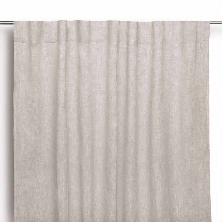 Curtain in Natural Pure Linen with Buttonholes Made in Italy - Blessy
