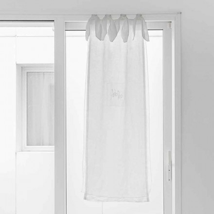 Curtain with Linen Gauze and White Organza of Elegant Design - Tapioca
