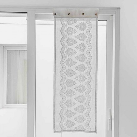 White Curtain in Light Linen with Gothic Cotton Embroidery - Gegia