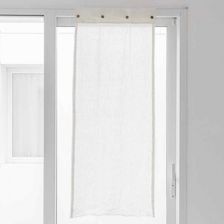 White Curtain in Light Linen and Mother of Pearl Buttons - Georgette