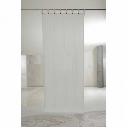 White Light Linen Curtain with Buttons of Luxury Design - Geogeo