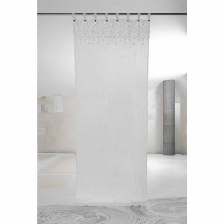 White Light Linen Curtain with Lace of Elegant Design Made in Italy - Geogeo