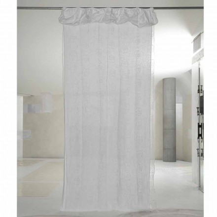 White Linen and Organza Curtain with Elegant Rose Embroidery - Mariarosa