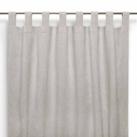 Curtain with Buttonholes in Pure Linen Natural Color Made in Italy - Solemn