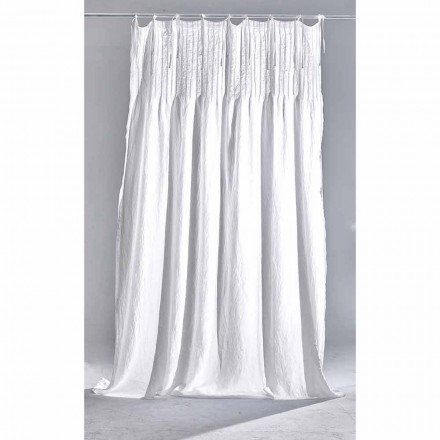 White Light Linen Curtain with Ribbed, Italian Quality Design - Tafta