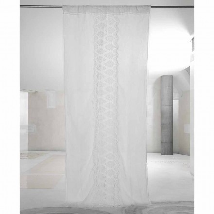 White Light Linen Curtain with Organza and Embroidery Italian Luxury - Marinella