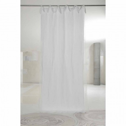 White Linen and Organza Curtain with Tabs, Luxury Design Made in Italy - Ariosto