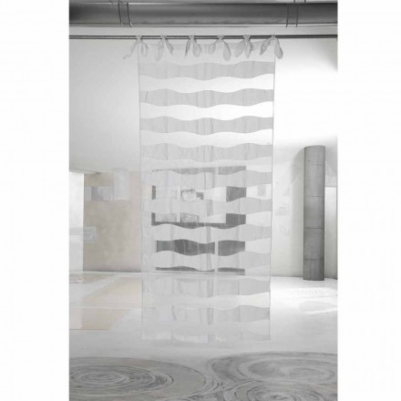 White Linen and Organza Curtain with Embroidery of Elegant Design - Oceanomare