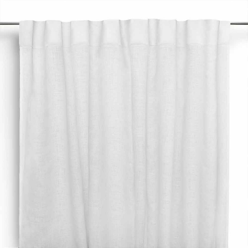 Curtain in Pure Cream White Linen with Buttonholes Made in Italy - Blessy