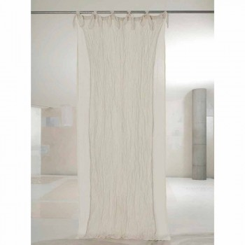 Curtain in Memory Effect Fabric and Double Gauze Linen 3 Finishes - Memory