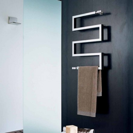Chrome electric radiator Snake by Scirocco H, modern design