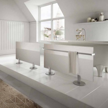Modern design electric floor radiator Star, made of white glass