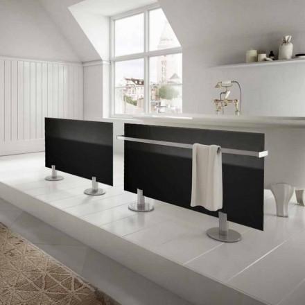 Modern design electric floor radiator Star, made of black glass