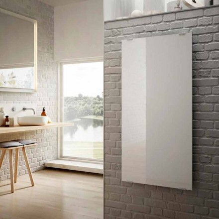 Modern design electric radiator Star, white glass, made in Italy