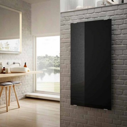Modern design electric radiator Star, black glass, made in Italy