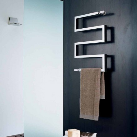 Chrome hot water radiator Snake by Scirocco H, modern design