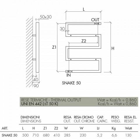 Hydraulic chrome radiator Snake by Scirocco H, modern design